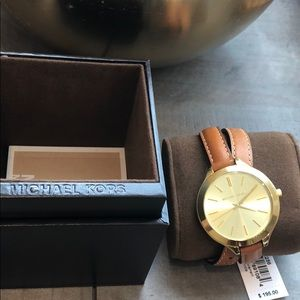 Michael Kors Leather Wrap Band Watch